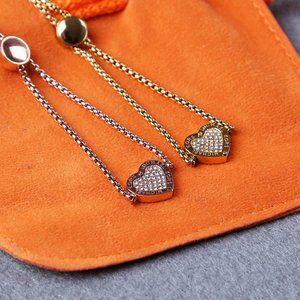 Michael Kors Heart MK Logo Pave Slider Bracelet